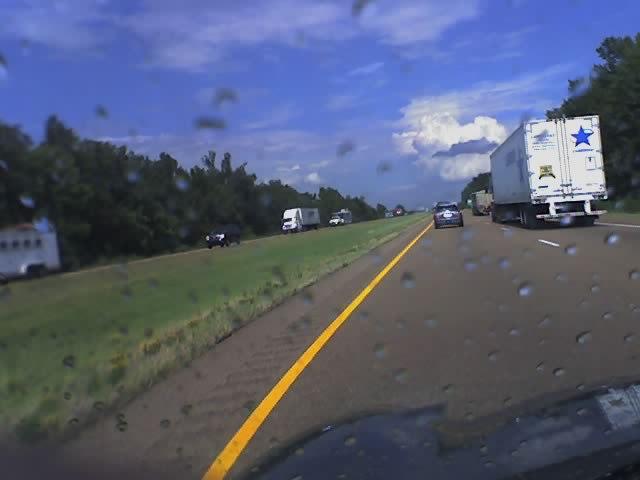 Raining on I-40 (phone pic)