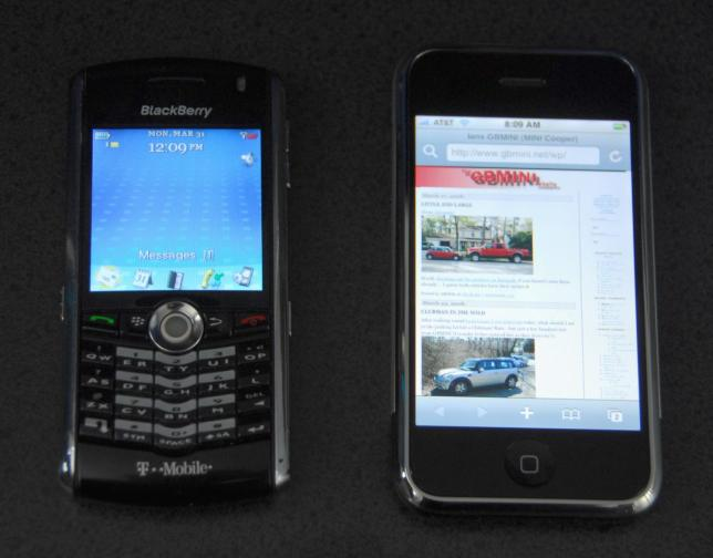 Blackberry and Apple phones