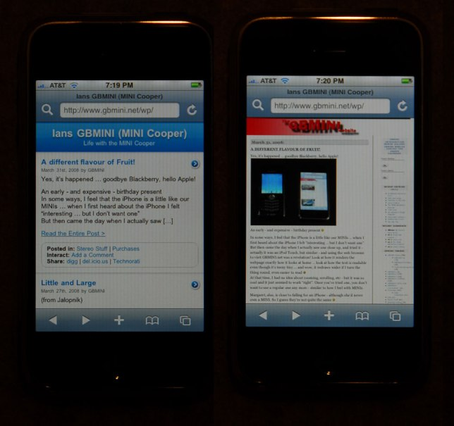 iPhone web page formats