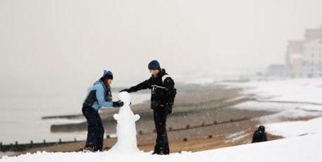 Snowman on Brighton Beach!