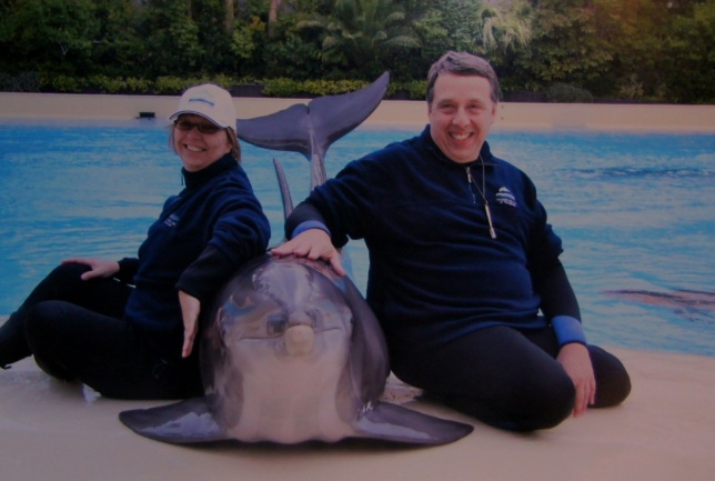 Margaret and Ian with a Dolphin